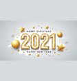 2021 gold neon light happy new year and christmas vector image vector image