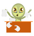 alien working at table on white background vector image vector image