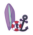 anchor marine with surfboard and float vector image vector image