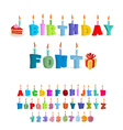 Birthday ABC holiday font for postcards letters vector image vector image