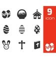 black easter icons set vector image vector image
