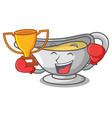 boxing winner cartoon sauce boat with cream sauce vector image vector image