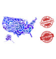 business contacts composition of mosaic map of usa vector image vector image