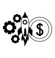 business rocket money coin gears vector image vector image