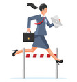 businesswoman runs on obstacle course vector image