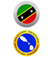 button as a symbol SAINT KITTS NEVIS vector image