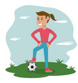 cartoon girl with soccer ball in meadow vector image