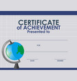 certificate template with globe vector image