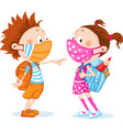 children students with respirator mask - protectio vector image vector image