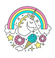 circle composition with unicorn rainbow vector image