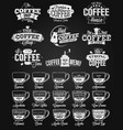 coffee label logo and menu chalk drawing vector image