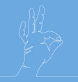 continuous line drawing of hand showing ok gesture vector image vector image