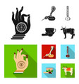 country india black flat icons in set collection vector image