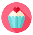 Cute Lovely Cupcake with Heart Circle Icon vector image vector image