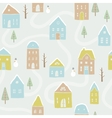 Cute winter houses pattern vector image vector image