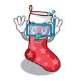 diving cartoon christmas socks for gifts christmas vector image