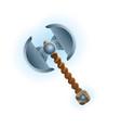 fantasy medieval two blade ax icon vector image vector image