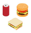 fast food burger drink and sandwich unhealthy vector image vector image