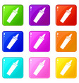 felt tip pen icons set 9 color collection vector image vector image