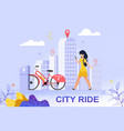 flat banner city ride red bicycle parking lot vector image vector image