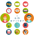 flat design writer web icons set vector image