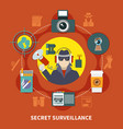 flat detective composition vector image vector image