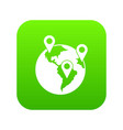 globe and map pointers icon digital green vector image