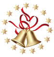 golden christmas bells with a snowflake frame vector image vector image