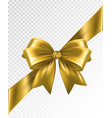 golden corner ribbon with bow - design vector image
