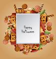halloween square card pumpkins basket vector image vector image