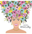 happy womens day with cute woman and vector image vector image