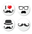 I love mustache moustache icons set vector | Price: 1 Credit (USD $1)
