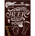 inscription in white paint with beer glasses vector image