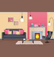 interior design cozy living room with fireplace vector image vector image