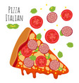 italian pizza with sausage tomato cheese vector image vector image
