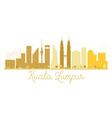 Kuala Lumpur City skyline golden silhouette vector image vector image