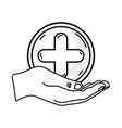 Line hand with cross medicine symbol to help the vector image