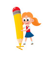 little girl writing letter a with giant pencil vector image vector image