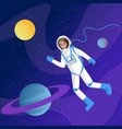 male astronaut in outer space vector image vector image