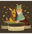 Man and dog friendship vector image vector image