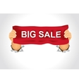 man holding a big sale banner in his two hands vector image vector image