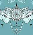 Mehndy flowers tattoo template on blue background vector image