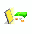 money from smartphone design vector image vector image