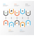 music flat icons set collection of band quiet vector image
