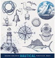Nautical hand drawn set vector