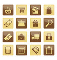 online shop icons over brown background vector image