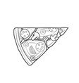 outline fast food piece of pizza icon vector image vector image