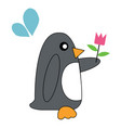 penguin holding flowers vector image vector image