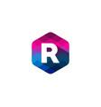 r hexagon pixel letter shadow logo icon design vector image