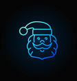 santa claus head blue line icon or logo element vector image